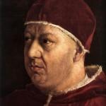Giuliano Bugiardini, Leone X con i cardinali Giulio de' Medici e Innocenzo Cybo, olio su tela, cm 157 x 117,5 Roma, Galleria Nazionale d'Arte Antica di Palazzo Barberini