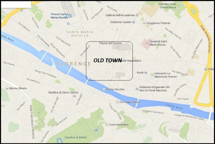 Accommodation in Florence_Old Town map
